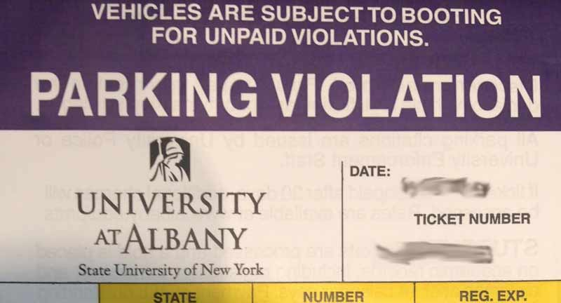 Image of a parking violation from UAlbany